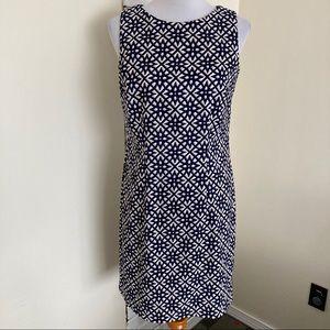 Alyx Dress 10 Sleeveless Sheath Navy Tan White